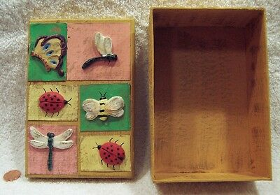 Folk Art Home Crafted Insect Designed Cover Wooden Box (One of A Kind) +BONUS!