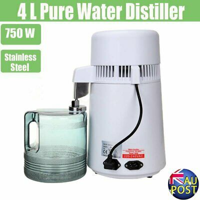 4L Pure Water Distiller 304 Stainless Steel w Glass Jar for Dental Medical T