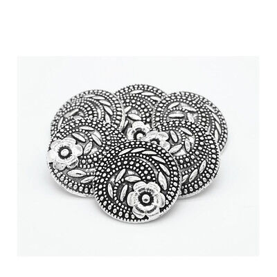 10pcs Fashion Flower Carving Metal Shank Buttons Coat Sewing Embellsihment 17mm