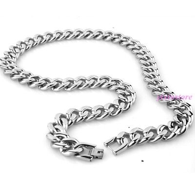 "15mm 24"" Men's Women Necklace 316L Stainless Steel Silver Tone Curb Chain Gift"