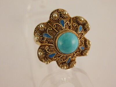 Chinese Turquoise Enamel Gilded Silver Ring Adjustable Sz 6 Vintage