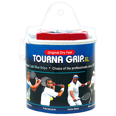 Tourna Grip Original 30 Pack Tennis Badminton XL Overgrip - Blue - Dry Feel