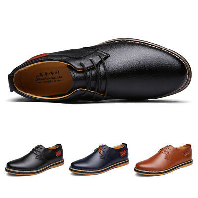 Men's Classic Business Dress Leather Shoes Fashion Lace Up Oxfords Flat Sneakers