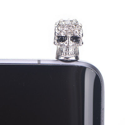 nice diamond skull head general dust plug mobile phone headset dust plug SilverR