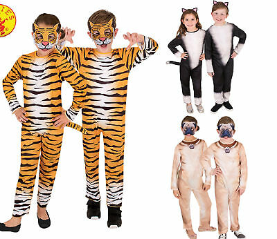 Kids Bookweek Tiger Lion Cat Dog Animal Costume Jumpsuit - 3,4,5,6,8 YRS