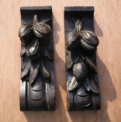 PAIR of 19th CENTURY CARVED OAK GARLANDS of FRUIT & LEAVES Gothic Medieval