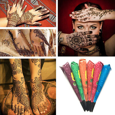 Natural Herbal Temporary Tattoo Black Henna Cones Body Mehandi Art Paint INK FG