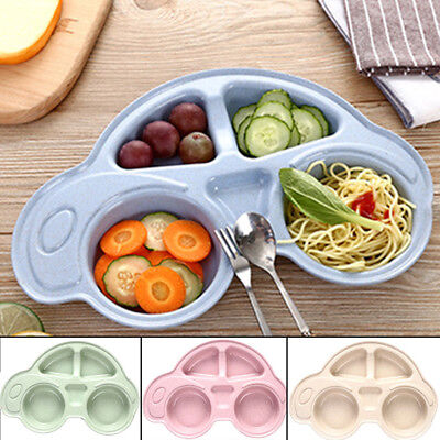 Kids Plate Children Divided Dinner Snack Car Dish Natural Baby Food Tableware UK