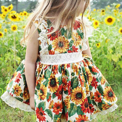 AU Toddler Kids Baby Girl Suimmer Lace Floral Princess Dress Party Prom Sundress