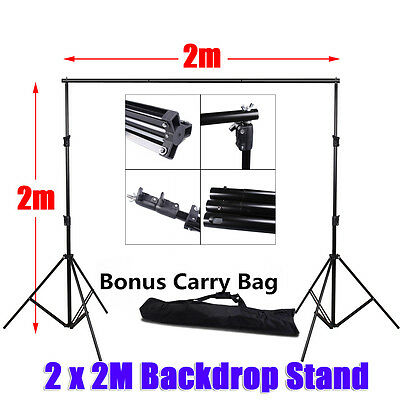 Studio Backdrop Stand 2x2M Crossbar Photography Heavy Duty Background Stand Kit