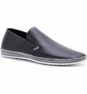b9552e50a68 ZANZARA MENS MERZ Slip-On Premium Perforated Leather Shoes Black Pick A Size