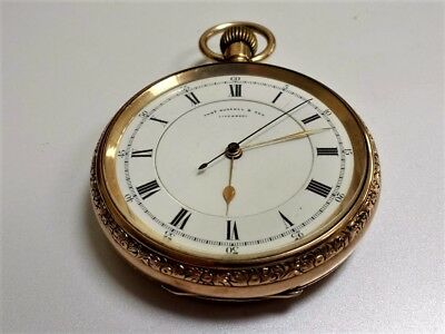 Large Antique 9ct Solid Gold English Lever Centre Seconds Chronograph 114g