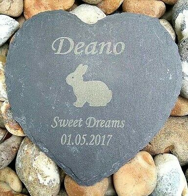 Personalised Engraved Slate Stone Heart Pet Memorial Grave Plaque rabbit bunny