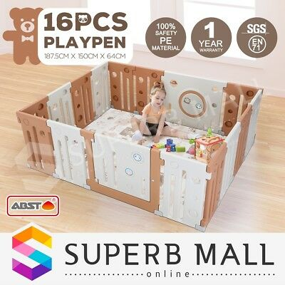 Baby Playpen Kids Toddler Plastic Interactive Safety Gate Divider Lock 16 Panel