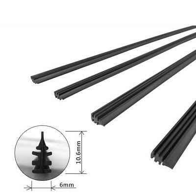 "2Pcs Car Universal 26"" 6mm Rubber Quality Silicone Wiper Blade Refill Black lc"