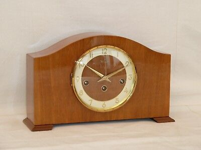 Bentima  Hermle 8 Day Light Walnut Westminster Mantel Mantle Chime Clock