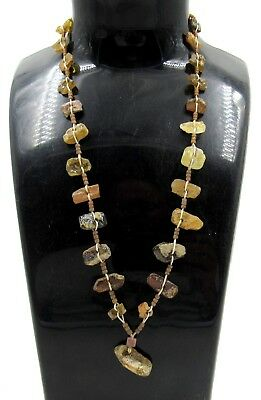 Authentic Ancient Roman Glass Beaded Necklace - Wearable - E578