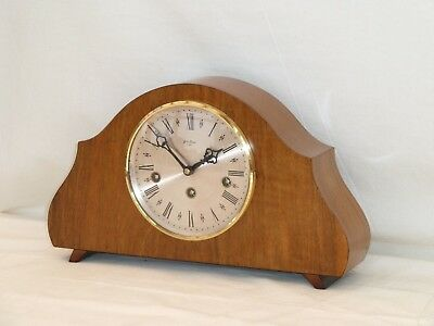 Charming Little Bentima Hermle Walnut Westminster Mantel Mantle Chime Clock