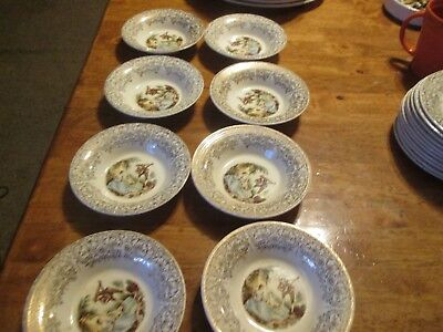 American Limoges Triumph China d'Or Berry/Dessert Bowls  22k Gold SET 8