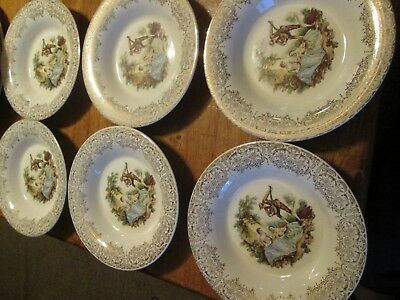 "Triumph American Limoges China d'or 22k Gold 6- 8-1/4"" Soup Bowls"