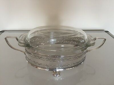 Lovely Lidded Pyrex Dish On A 2 Handled Silver Plated Pierced Stand On 3 Feet