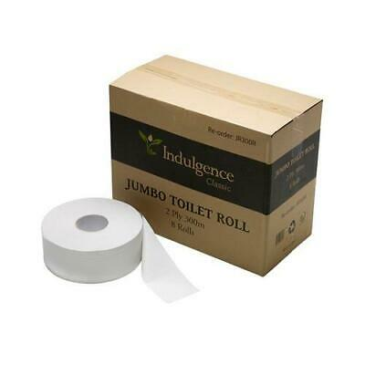 8 X Jumbo Toilet Paper Roll 2ply 300mt Individual Wrapped Premium Toilet Tissue