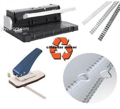 HD Calendar Making Kit Wire Binder Thumb Cut Punch & White Wires & Hangers