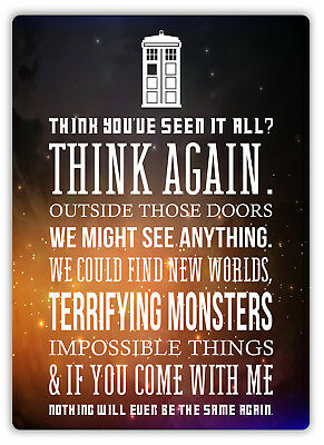 Doctor Who Quote - Metal Wall Plaque Art - Sci-Fi Drama Timelord Tardis