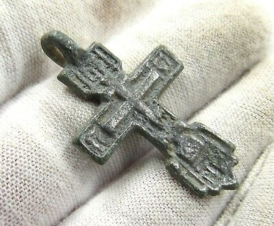 Authentic Late/post Medieval Era Silvered Bronze Cross Pendant - Wearable - E605