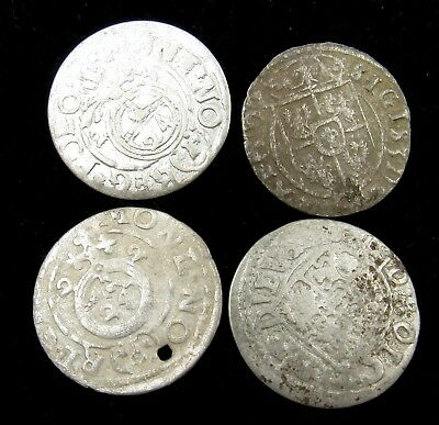 Authentic Lot Of 4 Medieval Silver Hammered Coins - E609