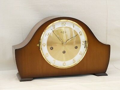 Superb 8 Day Bentima, Hermle Walnut Triple 3 Tune Whittington Chime Mantle Clock