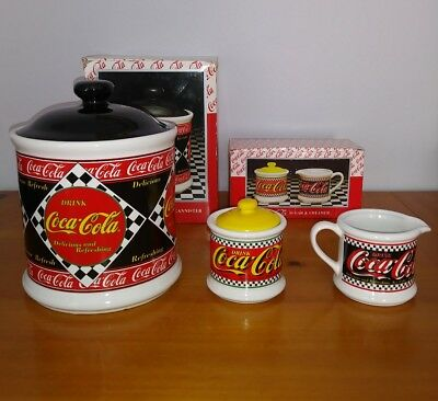 Vintage Coca Cola Large Canister And Sugar & Creamer Set. Near Mint Cond...