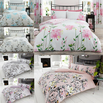 Duvet Quilt Cover Set Double Single King Size Pillowcases Printed Floral Bedding