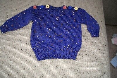 New  Hand  Knitted Baby Jumper Speckled 0 -3   Months App