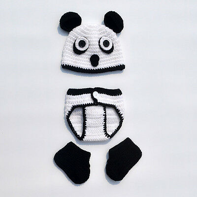 Panda Style Photo Prop Hat Unisex Baby Crochet Knit Costume Clothes Shoes Outfit