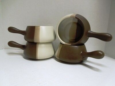 Lot of 4 McCoy Lancaster 7054 Sandstone Open Handle Casserole Soup Bowl USA Made