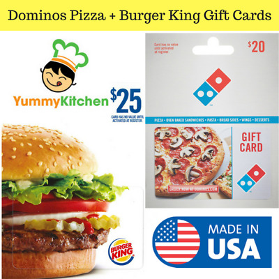 Activated Gift Card For Dominos Pizza + Burger King Restaurant No Fees USA ONLY