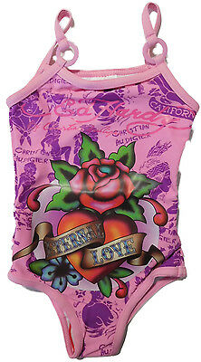 Size 0-6 months - Baby Girls Ed Hardy Pink Rose Print Swimsuit Swimmers Swimwear