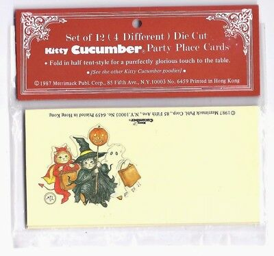 Vintage Kitty Cucumber HALLOWEEN Place Cards NIP In Package SEALED Witch Ghost +