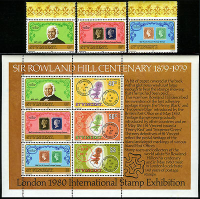 St Vincent 545-547,547a S/s, MNH. Sir Rowland Hill, Map, Stamp on stamp, 1979