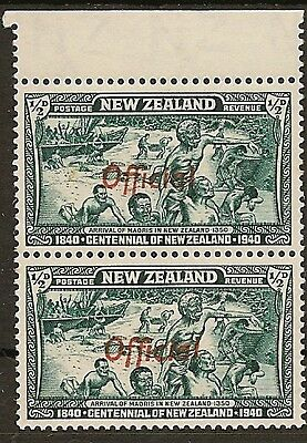 "NEW ZEALAND  OFFICIAL 1940 KGVI VARIETY ½d CENTENNIAL  ""FF"" JOINED SG0141/141a"