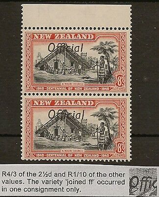 "NEW ZEALAND  OFFICIAL 1940 KGVI VARIETY 8d CENTENNIAL  ""FF"" JOINED SG0149/149a"