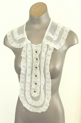 Antique Edwardian Lace Collar with Black Button Accents