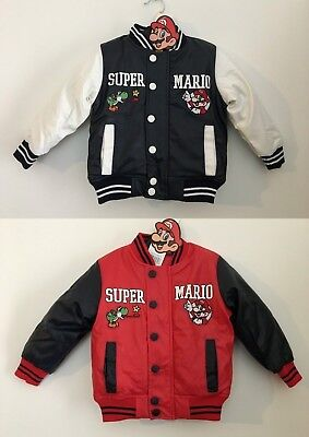 Boys Kids Super Mario Padded Baseball Varsity Warm Jacket Coat Age 3-8 Years