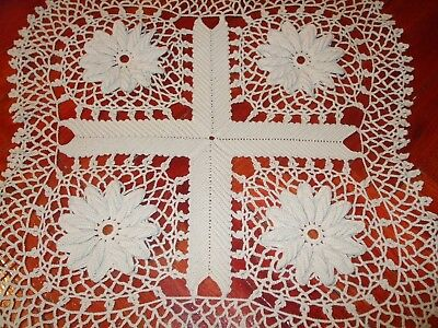Square tablecloth hand crochet lace home gift-Unused