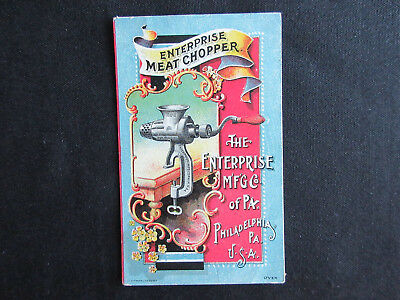 1880 ENTERPRISE Meat Chopper Color Illustrated Advertising Victorian Trade Card