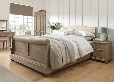 Grayson Solid Oak Bedroom Furniture Double Sleigh Bed
