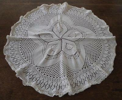 """Vintage Knitted Lace Centerpiece Doily Raised Picots Cream 22"""""""
