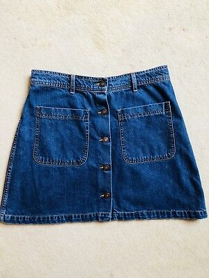 Zara Denim Skirt - Ladies Large - Buttons Up Front - So In Right Now!