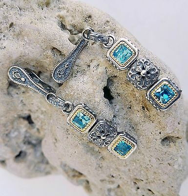 Exclusive Byzantine Earring  Aquamarine Cz 925 Sterling Silver Gold Plat Sk2032A